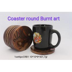 Coaster round burnt